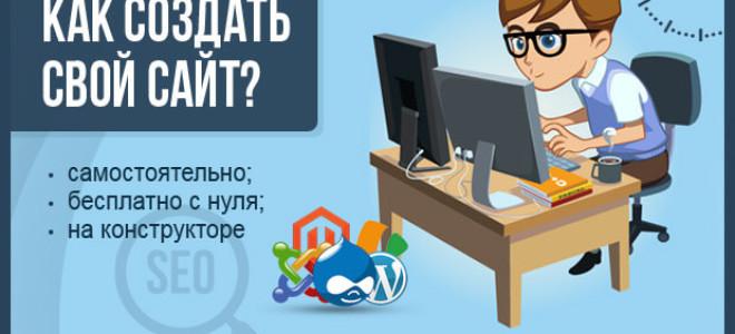 Как создать свой сайт — пошаговая инструкция для новичков по созданию своего сайта с нуля своими силами (самостоятельно и бесплатно)